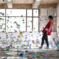 Art installation with paper flying