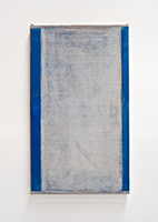 John Zurier: Cold July, 2014; distemper on linen; 25 5/8 x 16 1/2 in.; courtesy the artist and Peter Blum Gallery, New York.