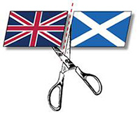 Graphic design of Scottish flag being cut from the British flag