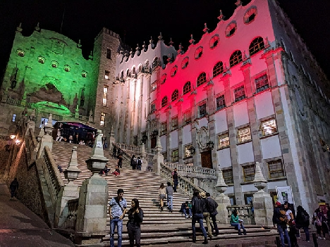 The University of Guanajuato during Mexico's Flag Day, 2017. (Photo by Ingrid Truemper.)