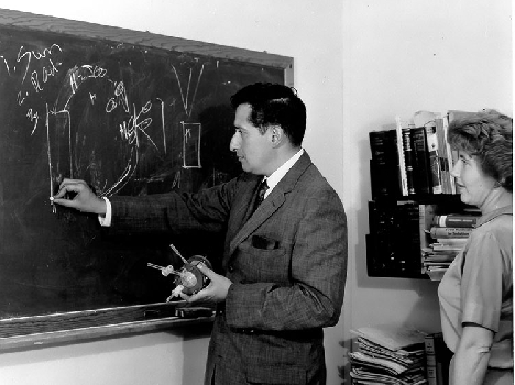 Stan and Iris Ovshinsky diagramming the hydrogen loop in the 1950s. (Photo courtesy of Stanford R. Ovshinsky.)