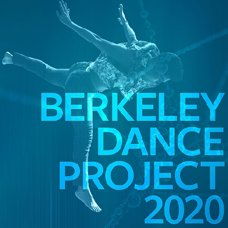 "An aqua-blue filter over a leaping dancer whose arms are lifted backward over his head. Large text over the dancer reads ""Berkeley Dance Project 2020."""