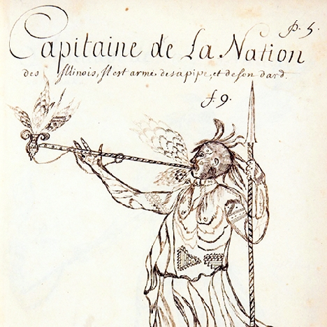 Capitaine de La Nation des Illinois (drawing by Charles Becard de Granville, c. 1701)