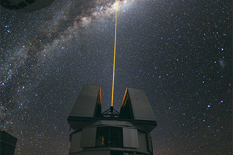 A laser beam directed toward the centre of the Milky Way. Image:ESO/Yuri Beletsky