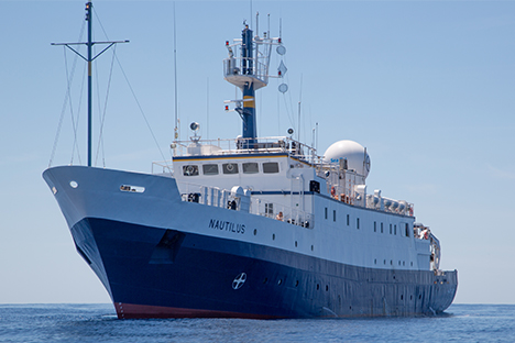 E/V Nautilus Exploration Vessel on the ocean.