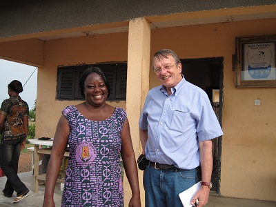 James Phillips with Ghana's first nurse to work at the community level