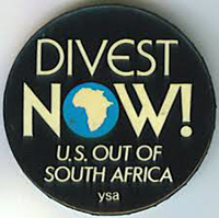 Divestment button related to South Africa